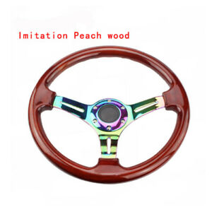 350mm 14inch Universal Abs Steering Wheel Imitation Peach Wood Neo Chrome