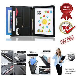 Zippered Padfolio Portfolio Binder Document Organizer Business Leather Letter
