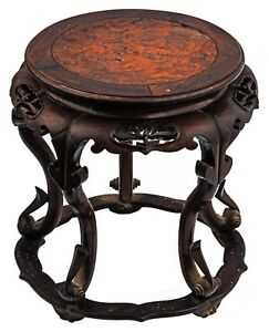 An Antique Chinese Burl Wood Inlaid Hardwood Plant Stand