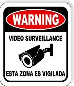 English Spanish Warning Video Surveillance Security Camera Metal Outdoor Sign