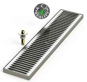 Surface Mount Drip Tray With Drain 5 X 24 X 3 4 Stainless Steel 4 Brushed