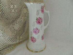 Antique Vintage 12 Tankard Pitcher Victorian Floral With Gold Gilt