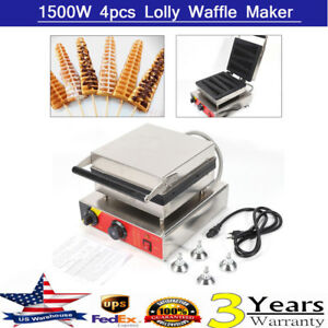 Commercial Nonstick Electric 4pc Lolly Waffle Stick Waffle Maker Baker Stainless