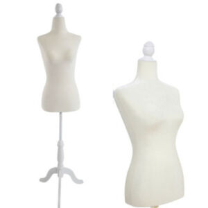 White Female Mannequin Torso Dress Form Tripod Stand Display Jewelry Velour