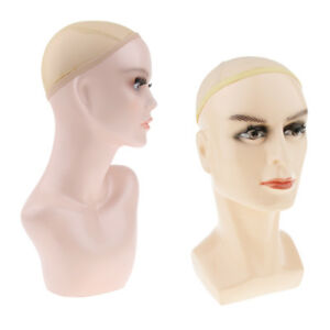 2pcs Realistic Plastic Male Female Mannequin Head Life Size Display Wig Hat