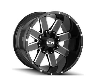 17 Ion 141 Gloss Black Milled Wheels 35 Tires Mt 5x5 5 Dodge Ram Truck Package