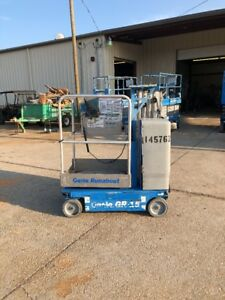 2010 Genie Gr15 Drivable One Man Lift Electric Scissor Boom Jlg Skyjack 15mvl