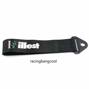 Black Racing Illest High Strength Nylon Trailer Jdm Tow Ropes Strap Tow For Car