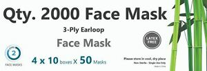 2000 Disposable Dental Face Mask 3 ply Blue Ear loop
