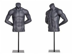 Male Torso Fiberglass Athletic Headless Mannequin Matte Grey W Base