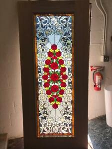 Beautiful Mahogany Stained Glass Custom Roses Estate Door An7