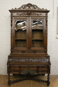 Rare Antique French Renaissance Cylinder Desk Bookcase
