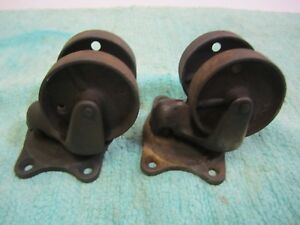 Pair Antique Vtg 1880 s Schenck Double wheel Cast Iron Industrial Swivel Casters