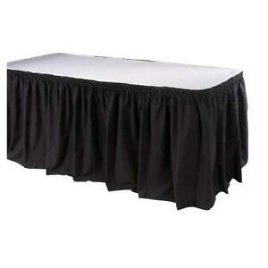 Phoenix Poly cotton Table Skirting 13 Ft shirred black Tskt 13 bk Black