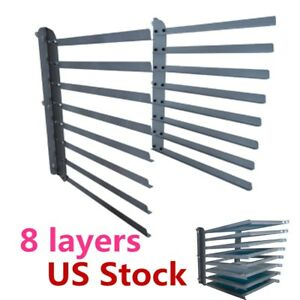 Usa Wall Fixed 8 Layers Screen Printing Shop Rack cart storage holder frame