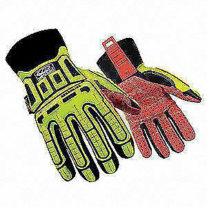 Ringers G Cut Rest Gloves synth Leather Palm l pr 270 10 High Visibility Green