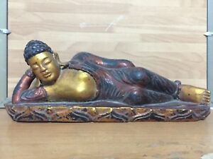 Rare Beautiful Vintage Vietnamese Hand Carved Wood Statue Of Sleeping Buddha