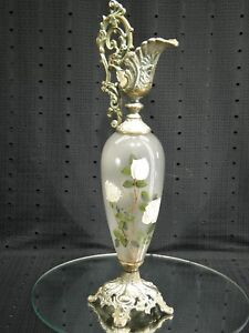 Victorian Ornate Hand Painted White Glass Ewer Urn