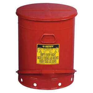 Justrite Oily Waste Can 21 Gal steel red 09700