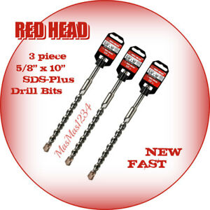 3 X Red Head Sds plus Drill Bits 5 8 in X 10 in Carbide Masonry 11496 New