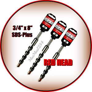 3 X Red Head Sds plus Drill Bits 3 4 in X 8 in Carbide Masonry 11497 Fast Mail