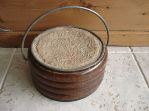 Antique Round Oak Foot Stove Warmer With Tapestry Pewter Lid