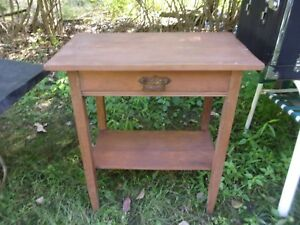 Small Antique One Drawer Wooden Table W Tapered Legs Flowered Handle Legs