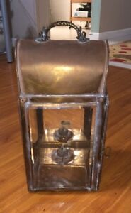 Vintage Oil Lamp Nautical Copper Brass Boat Wall Hanging Lantern 4 Sided Mirror