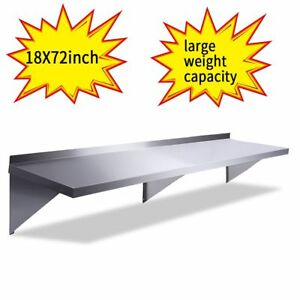 Floating Wall Shelf 18 x72 Stainless Steel Restaurant Bar Cafe Kitchen Storage