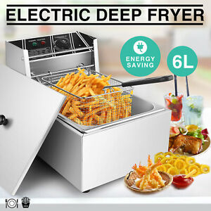2500w 6l Electric Deep Fryer Commercial Tabletop Restaurant Frying Basket Scoop