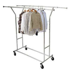 Double bar Heavy Duty Rail Clothes Hanger Rolling Rack Scalable Space Saving