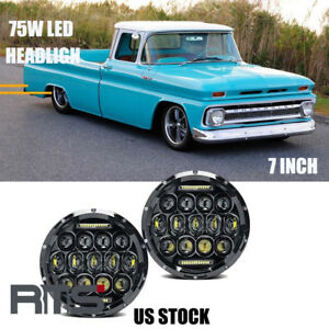 Pair Dot Black 7 Inch Round Led Headlight Drl150w For Chevrolet Chevy Ii 1964