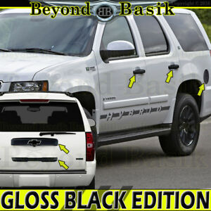 07 14 Chevy Tahoe Suburban Gloss Black Top Lower Liftgate Gas Door Handle Covers