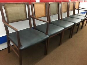 Walnut Cane Back Dining Chairs Mid Century Modern Vintage Set Of 6