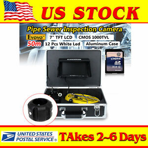 Eyoyo 7 Lcd 50m 164ft Pipe Pipeline Inspection Camera Drain Sewer Endoscope 8gb