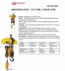 Gs 1 Ton Electric Chain Hoist 110 V