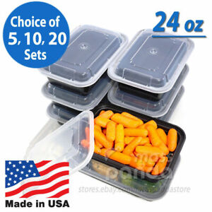 24oz Meal Prep Food Containers With Lids Reusable Microwavable Plastic Bpa Free