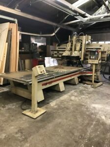 Used Komo Cnc Vertical Router Twin Spindle Machining Center Fanuc Vacuum Table