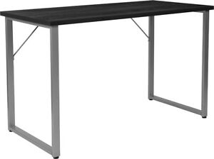 Contemporary Simple Sleek Black Finish Computer Desk With Silver Metal Frame