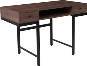 Contemporary Design Dark Ash Wood Grain Finish Desk W drawers Black Metal Legs