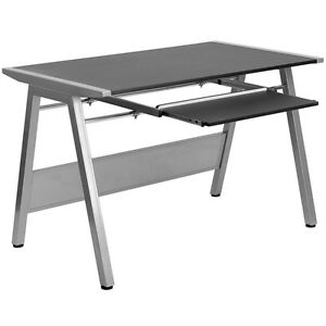 Contemporary Design Black Office Computer Desk With Pull Out Keyboard Tray