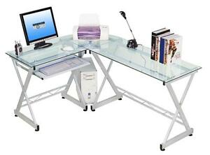 Modern L Shaped Computer Desk With Tempered Glass And Pullout Keyboard Tray