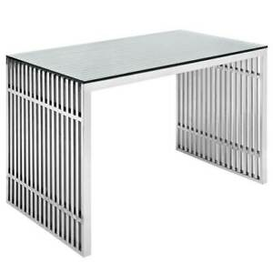 Sleek Modern Stainless Steel Office Computer Desk With Tempered Glass Top