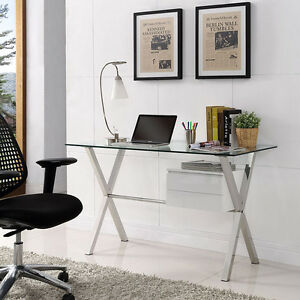 Modern Sleek Office Computer Desk With Clear Tempered Glass Top