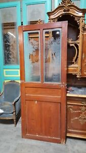 Salvaged Antique French Interior Door With Etched Glass