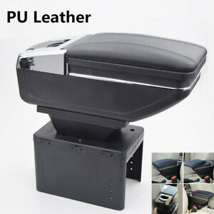1x Universal Pu Leather Car Central Container Armrest Box Cup Holder Storage Box