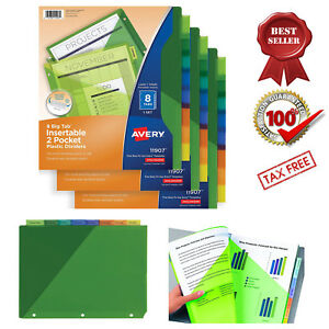 Insertable Two pocket Plastic Dividers 8 Big Tab Multicolor 3 Sets Binder New