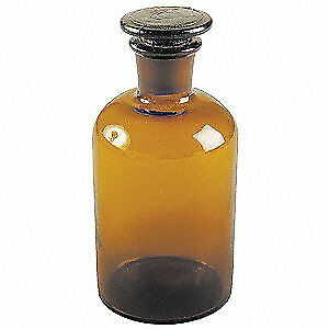 Lab Safety Supply Reagent Bottle 250ml glass narrow pk6 5yhg5
