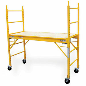 Scaffolding Steel Platform Ladder 6 ft Contractor Grade With Locking Casters