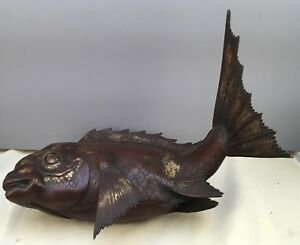 Japanese Meiji Bronze Partially Gilded Okimono Fish